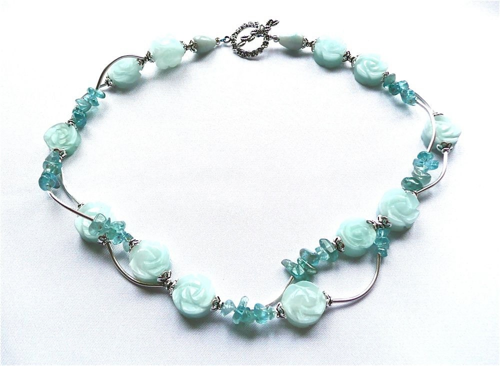 Blue Briar Rose -- Aqua Amazonite, Apatite and Hill tribe silver Choker - BlushingMermaid