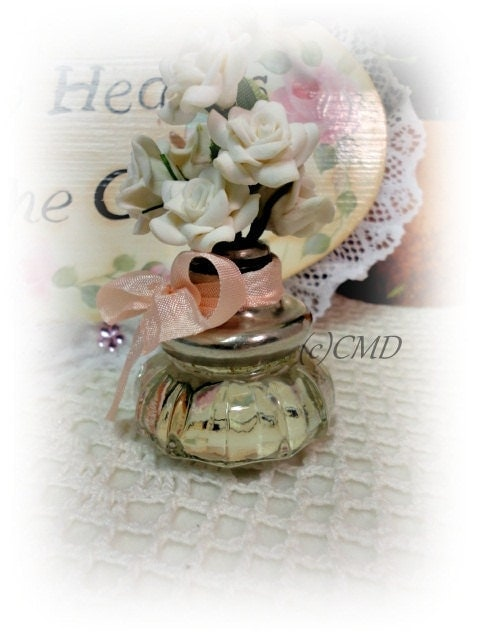 Vintage Door Knob, Redesigned Mini Decorative Vase Display, White Clay Roses and Vintage Hemtape, CSST, ECS