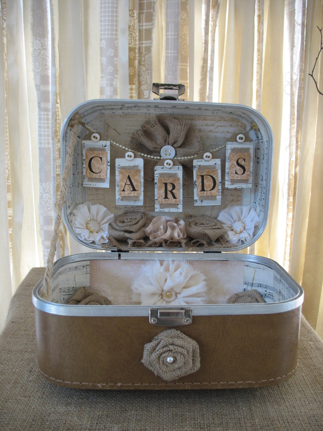 Card Box Vintage Suitcase Wedding Card Holder Shabby Chic, Vintage, Rustic Wedding