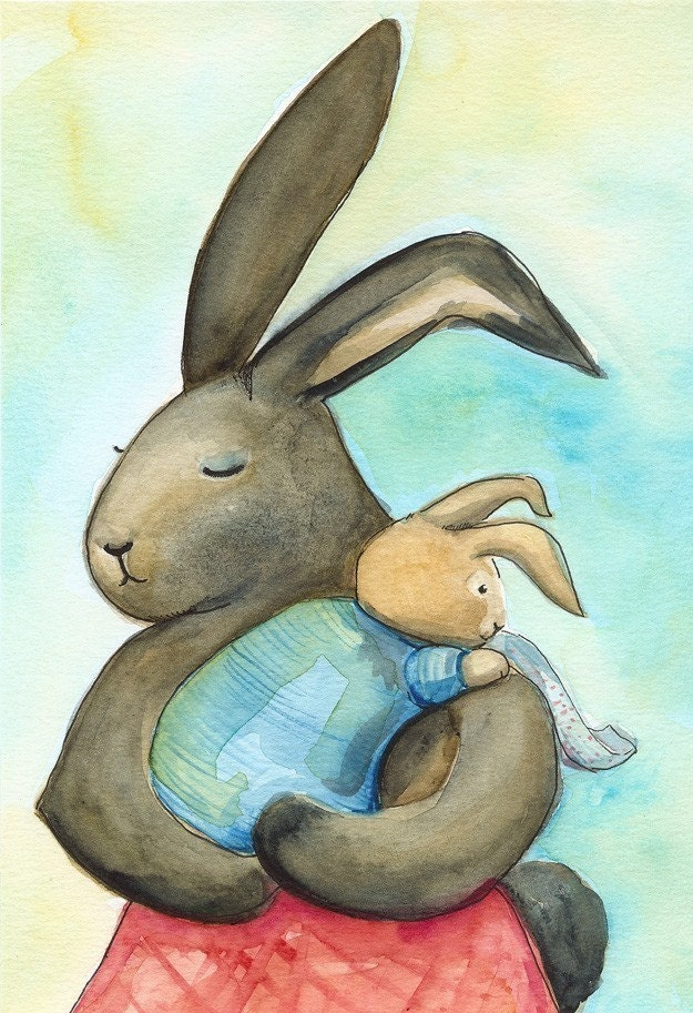 Large print- Little Burp, baby and  mother archival print,nursery, children, art - amberalexander