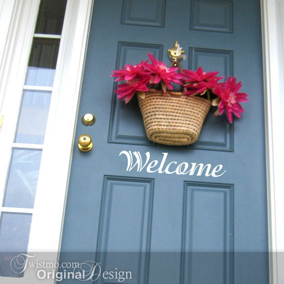 Welcome Sign Door Decal - Vinyl Wall Decal, Front Door Decoration, Door Sticker