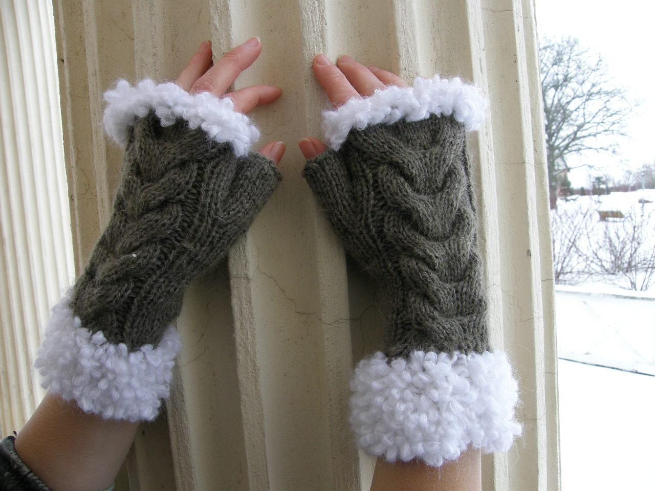 دست بافتنی دستکش Fingerless گرم بازو مچ دست گرم شتر پشم قهوه ای
