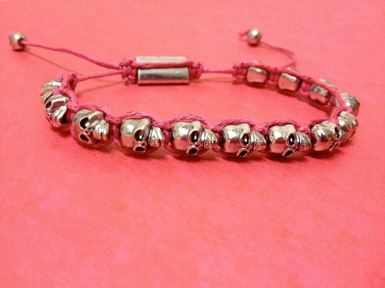 Pink Woven Skull Bracelet
