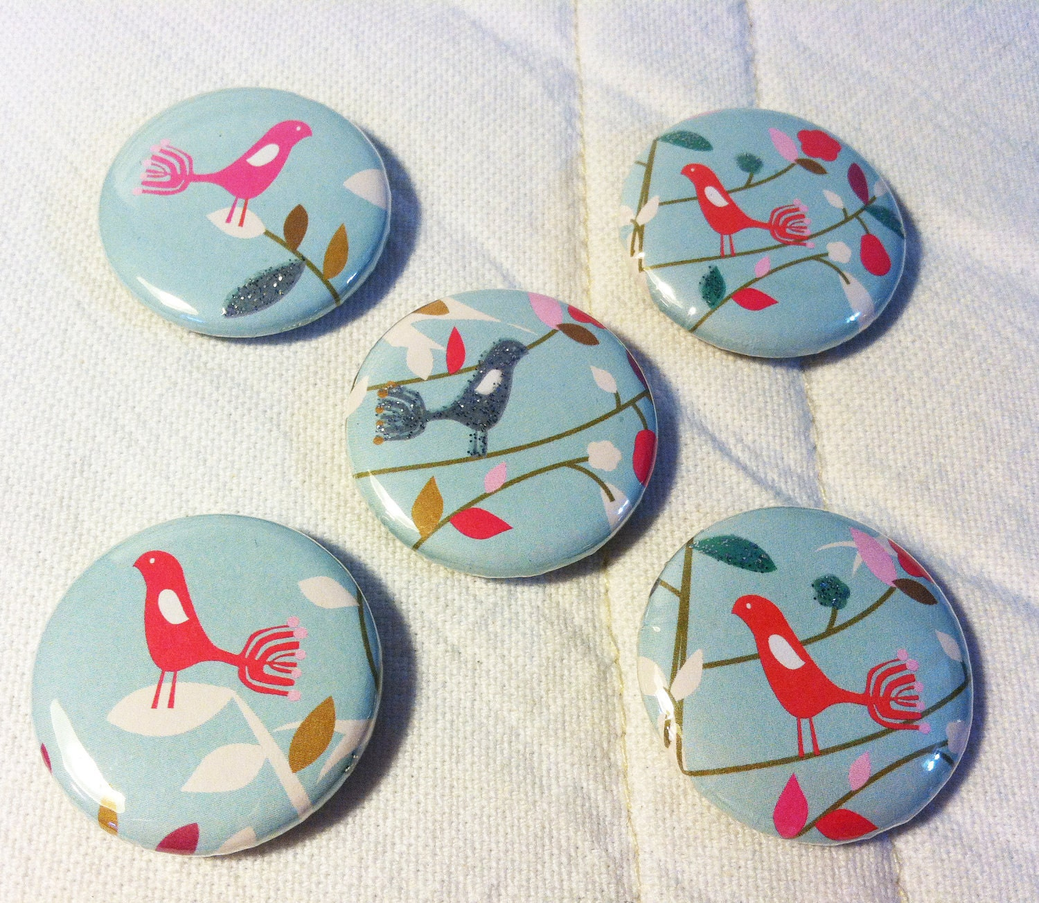 Birds on a branch magnet set