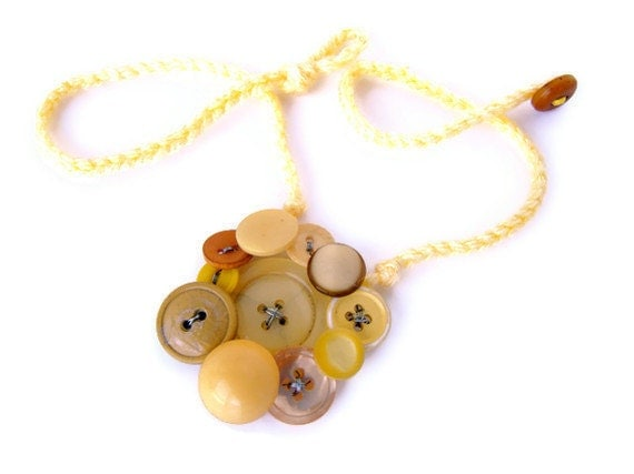 Yellow vintage button necklace - Pass the mustard  Yellow fall vintage button collage wire wrapped on a crochet necklace. - BeachPlumCottage