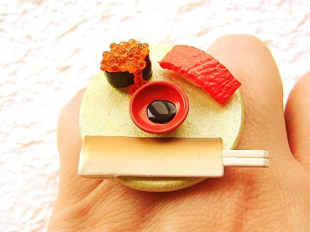 Sushi Ring Food Tuna Tobiko Kawaii Cute Miniature Food Jewelry