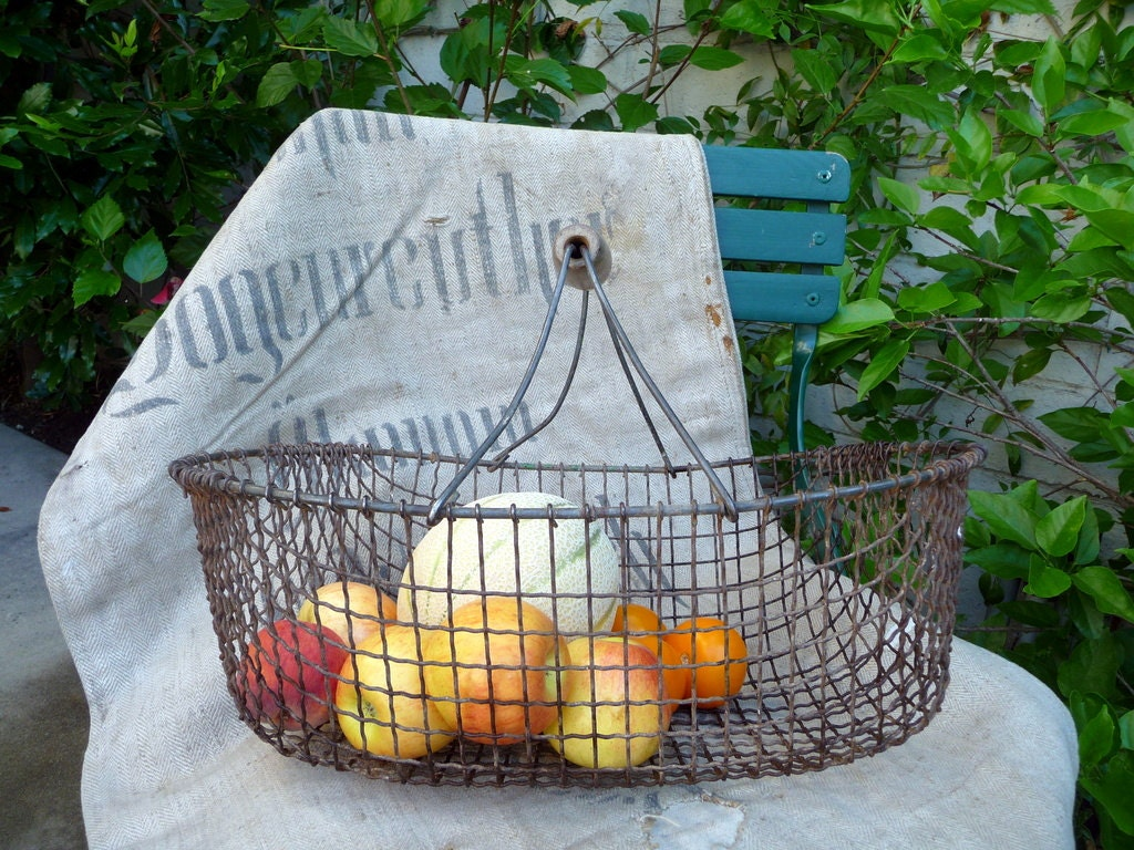 Vintage Wire Basket Wood Handle 40s// Rustic Farm Cottage French Handmade - OneFairfaxRoad