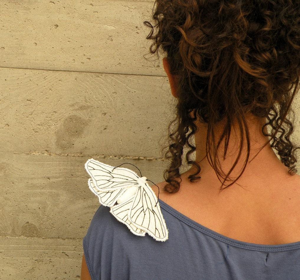 Handmade Fabric Moth Brooch - Textile Lepidoptera