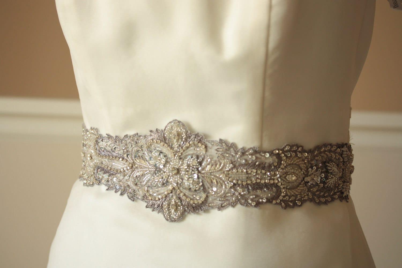 Antique Silver Bridal Wedding Sash - 29 inches