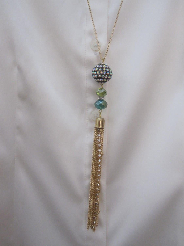 Sale Aurora Borealis Crystal  Tassle Charm Pendant Necklace / Lariat Multicolor crystal pendant