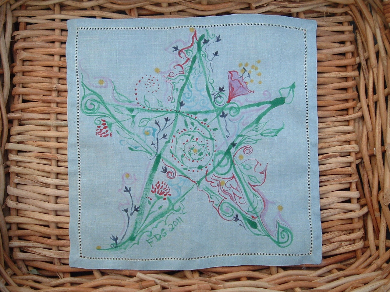 Hand-Painted Pentacle Folk-Art Altar Cloth