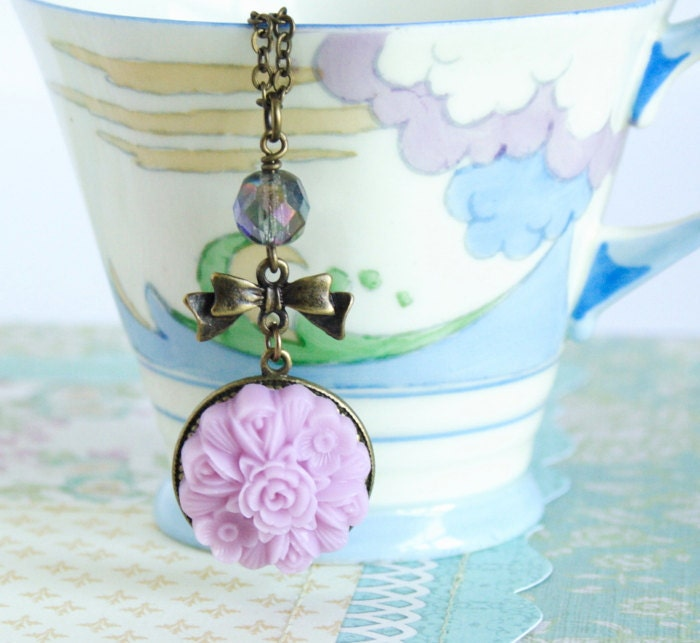 Mauve Necklace Cameo with  Brass Bow and Vintage Glass Bead and Brass Chain