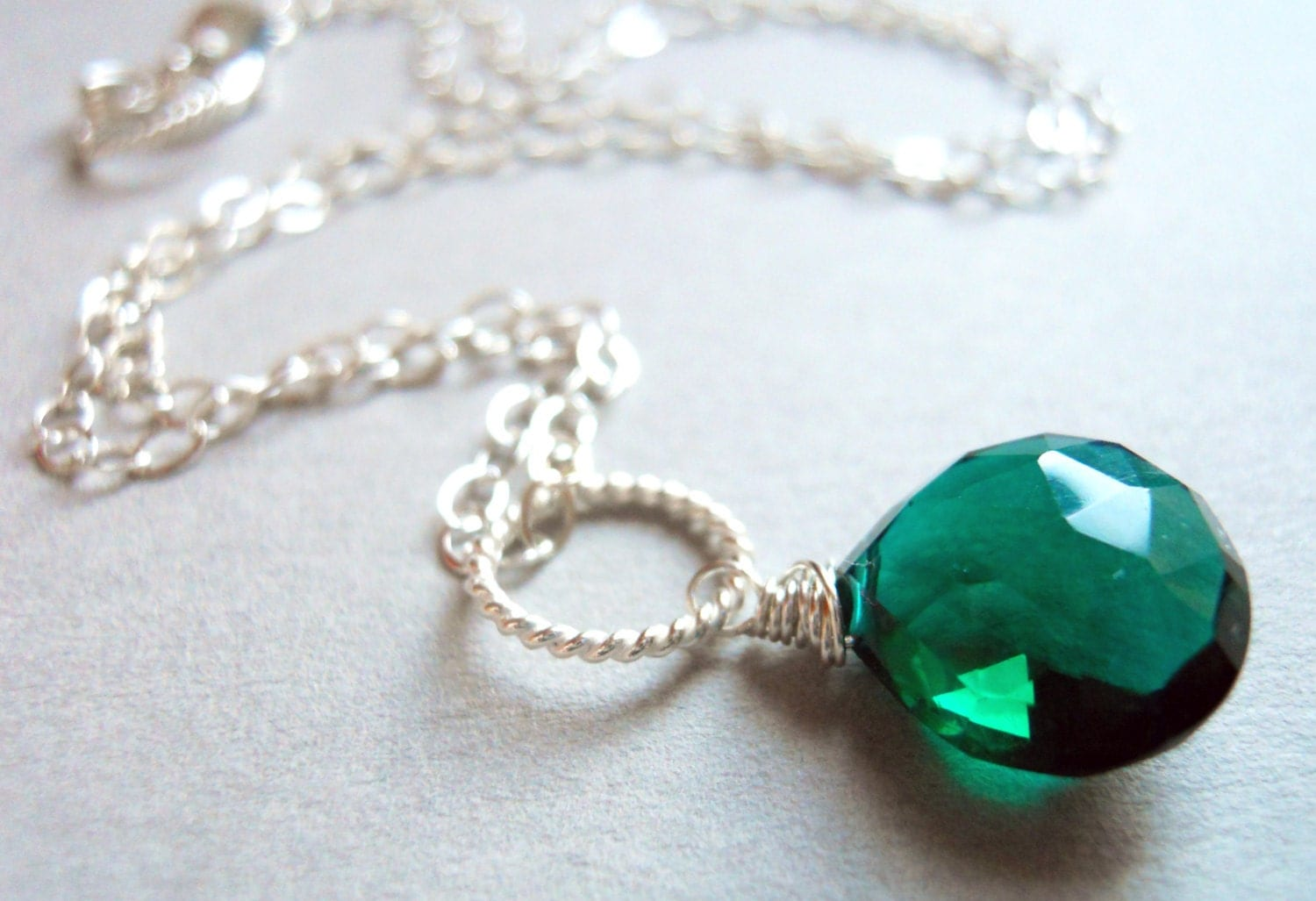 Dark Emerald Green Quartz Drop Necklace - Color of the Year - $35.00 USD