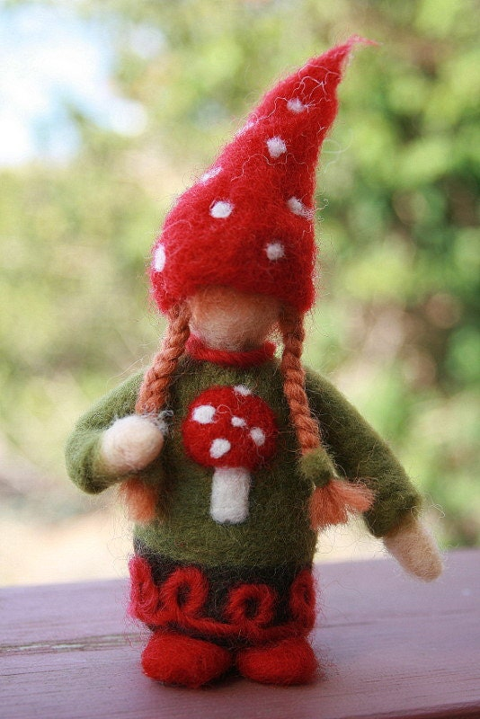 Needle Felted Christmas Gnome Girl Ornaments- Made to Order - heartfeltpassion
