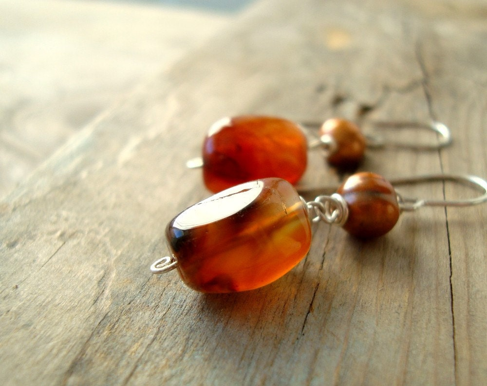 Indian Agate and Pearl Earrings Fall Fashion - Autumn Harvest - FuchsiaBloomStudio