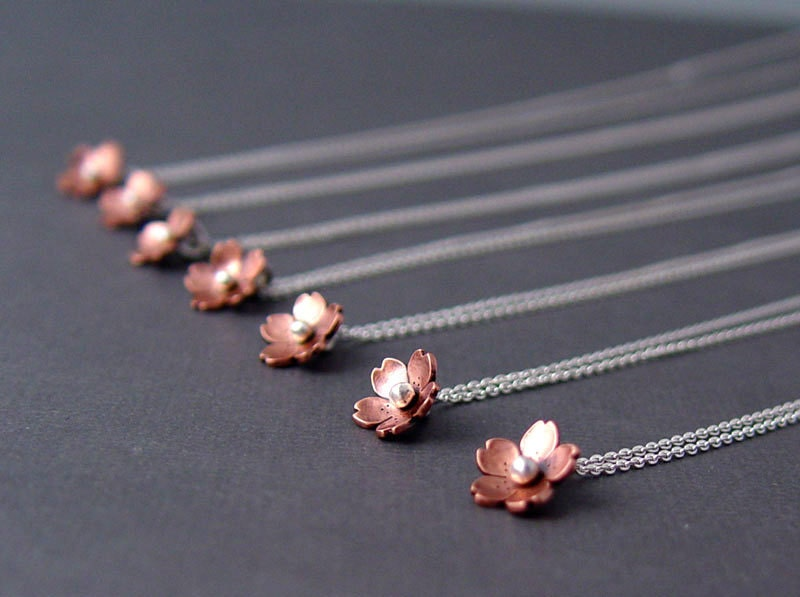 Cherry Blossom Drop - Plum Blossom, Bridesmaid Gifts, Dainty and Delicate jewelry, Sakura, Metalsmithing, Spring Wedding jewelry