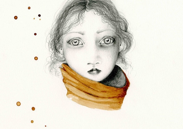 Pencil Drawing Illustration / Drawing Giclee Print of my Original Pencil Drawing Coffee Staining brown teamt - ABitofWhimsyArt