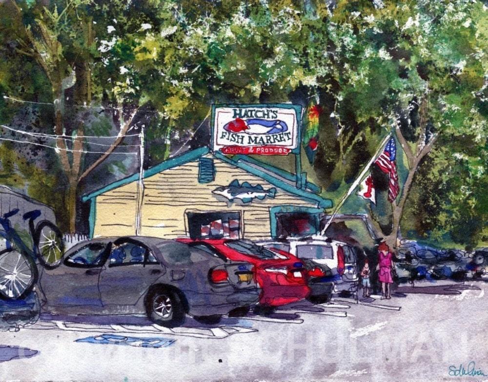 ORIGINAL Cape Cod Watercolor Landscape Painting Wellfleet Art, Hatch's Fish Market