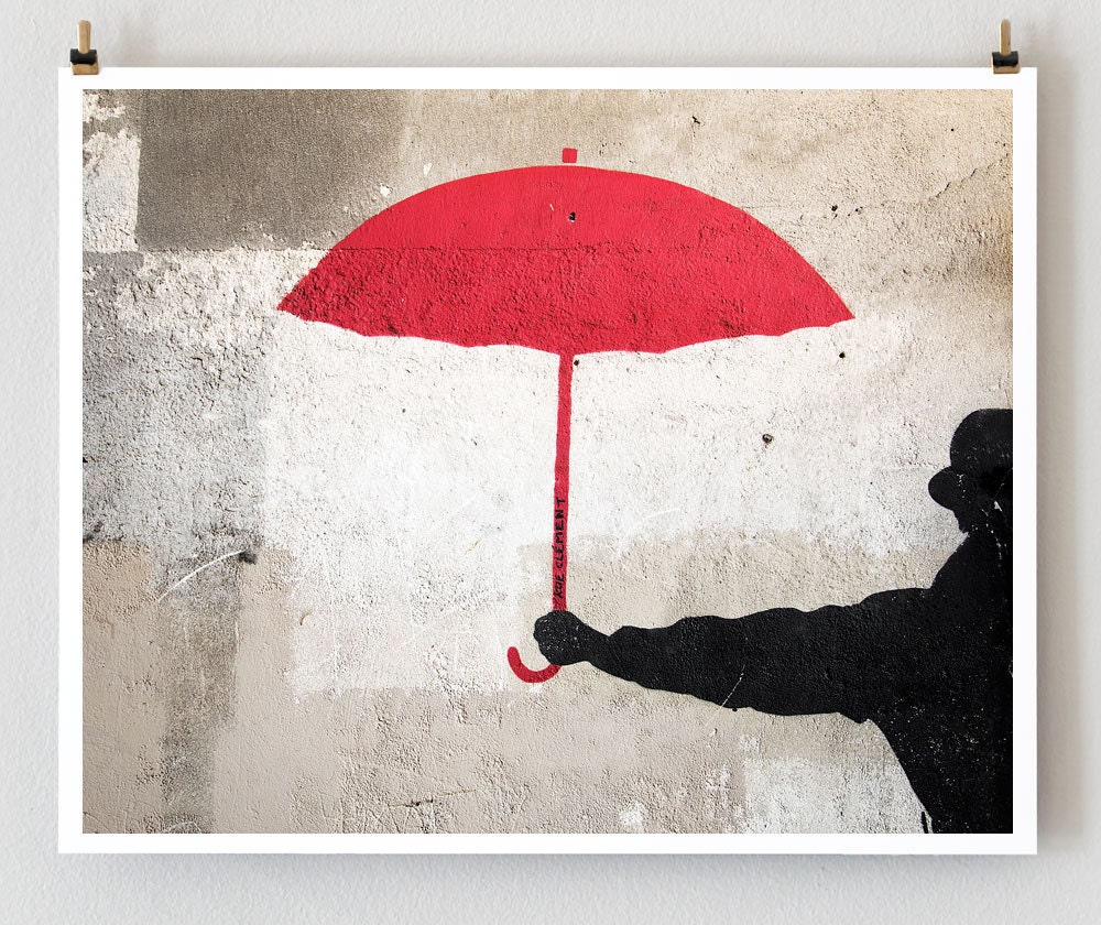 The Red Umbrella, Paris - 8x10 French Fine Art Photograph Art Print - Paris Photography - Umbrella Photo Street Art - Paris Graffiti
