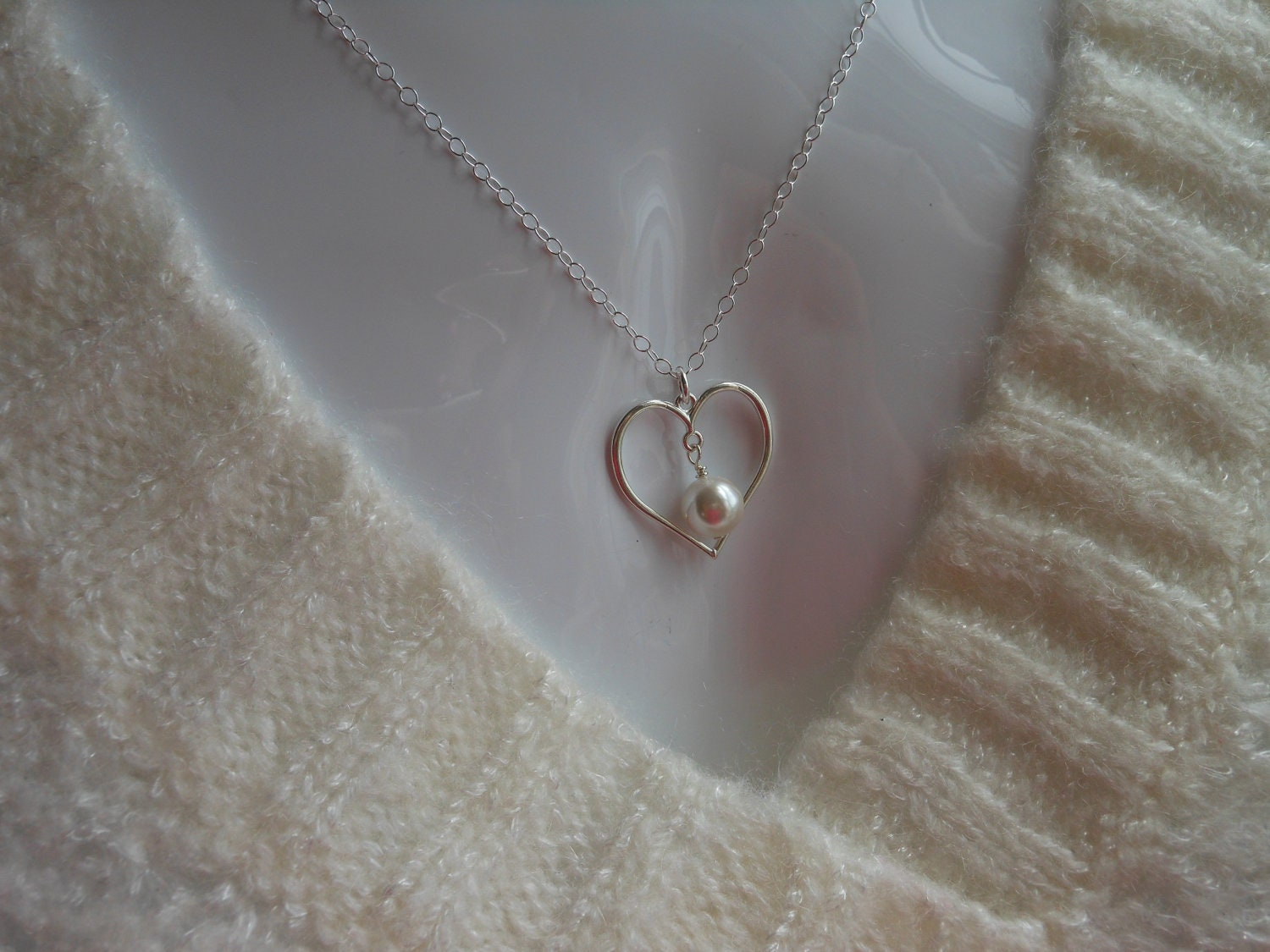 Mothers Love Necklace, Sterling Silver Heart Necklace, Heart and Pearl Necklace, Mother of the Bride, Mothers Necklace