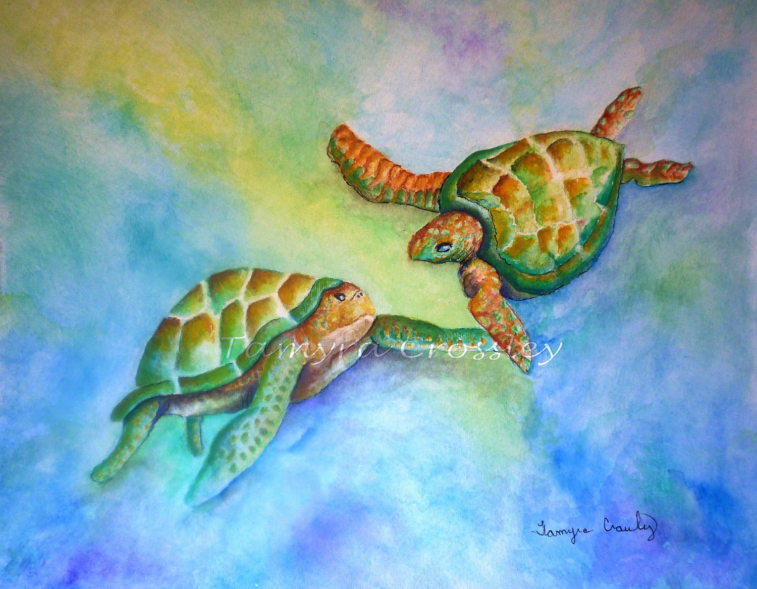 Sea Turtle Courtship.  8x10 Fine Art Print signed by artist Tamyra Crossley. - studioquest