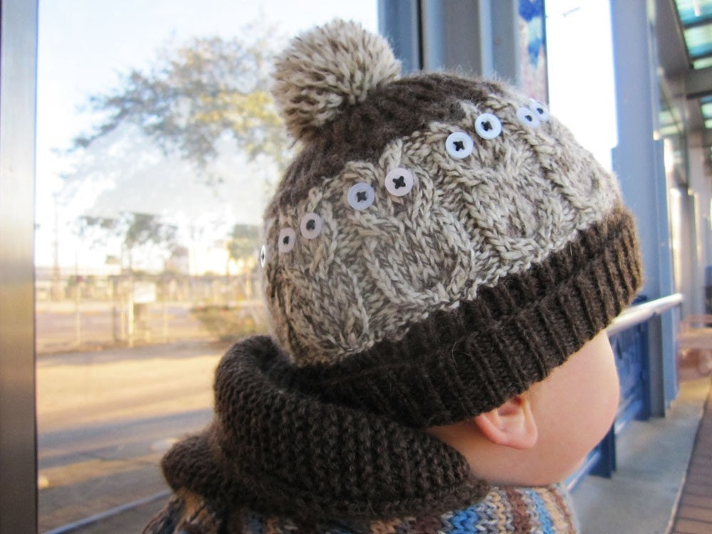 Hand Knit winter Wool Owly Hat  2 year old boy girl toddler