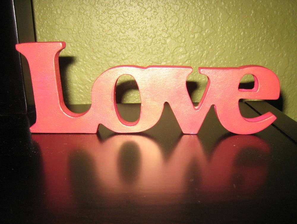 "Love - Metallic Magenta and Gold Shimmer Wooden Sign that says ""Love"" - Home Decor - Lovefortheworld"