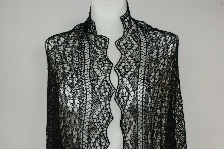Black silk lace stole bridal handknit luxurious - Anazie