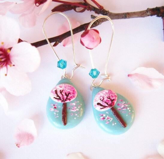 Tree Earring, Sakura earrings, Polymer Clay Teal and Pink OOAK