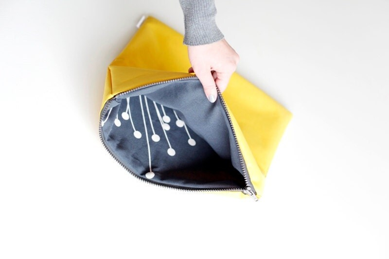 Large zippered bag YELLOW  ( fold over bag, clutch, zippered pouch )