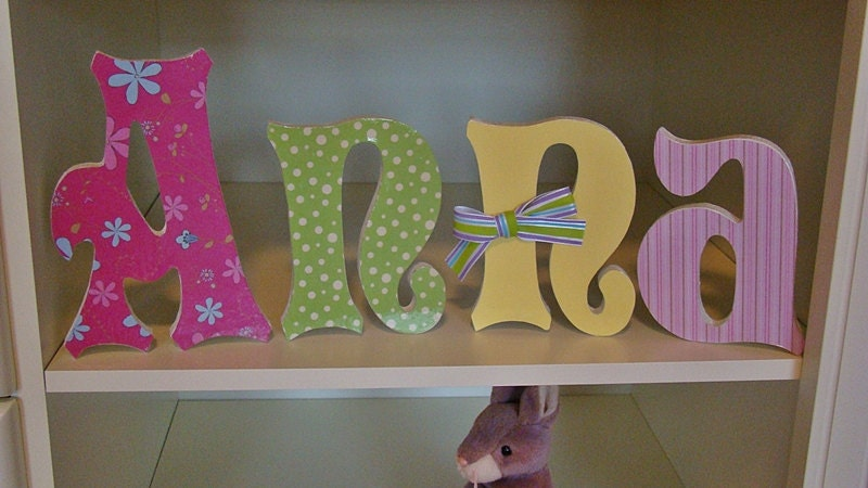 6 Inch Customized Wood Letters Nursery Home Decor Wedding