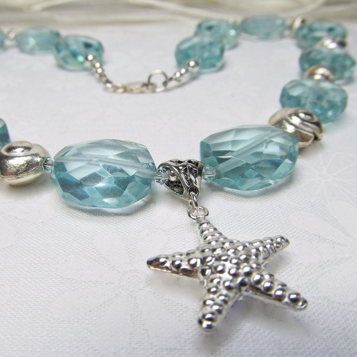 Aqua Blue Quartz Faceted Nugget Sterling Starfish Necklace