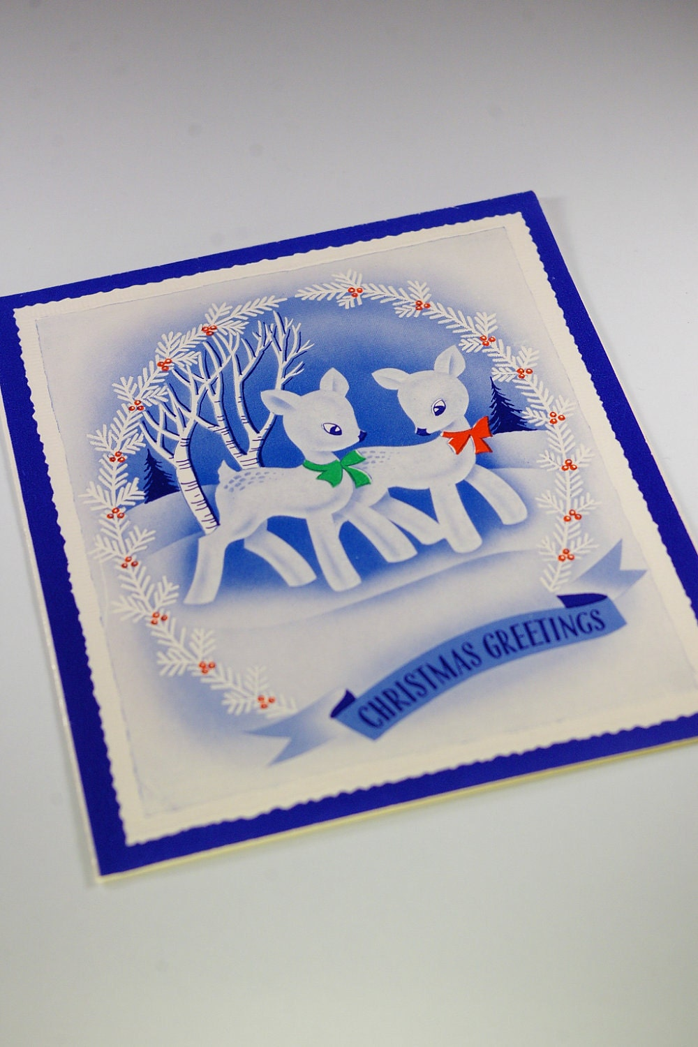5 Vintage Blue Themed Christmas Cards