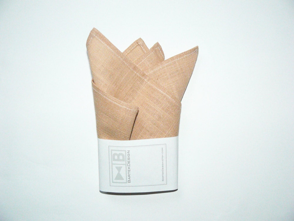 Pocket handkerchief pocket square by BartekDesign - beige linen wedding grooms chic