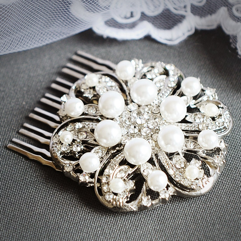 VERRIN Vintage Inspired Art Deco Wedding Hair Comb Silver Filigree Bridal