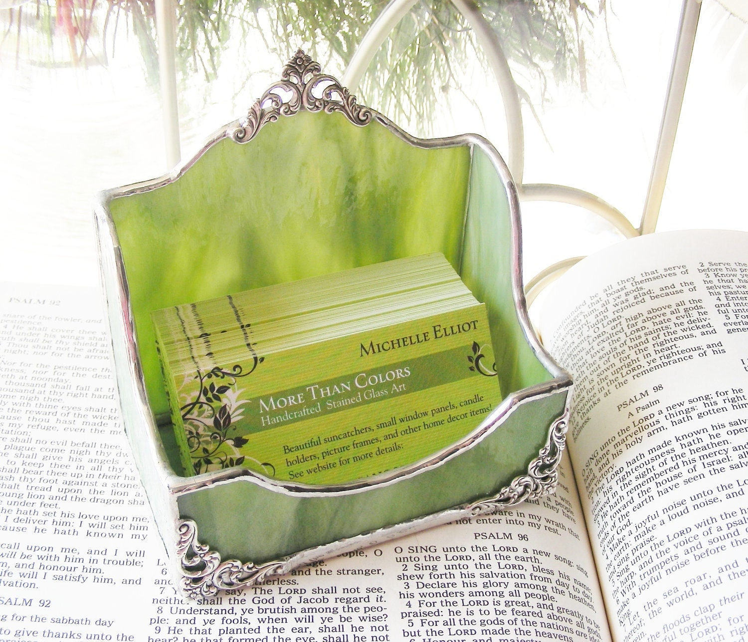 NEW Xtra Large  Sage Business Card Holder