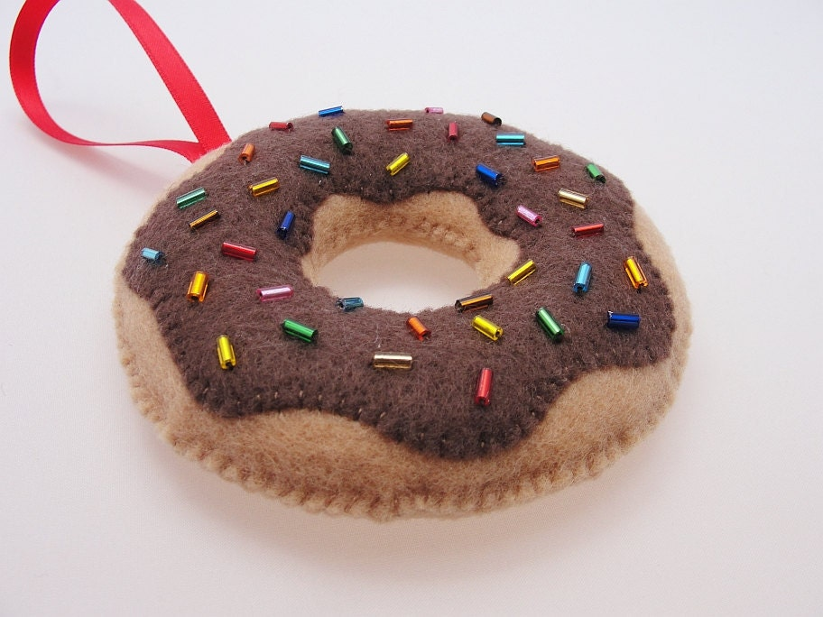 Christmas Donut Ornament - Yummy Chocolate with Sprinkles