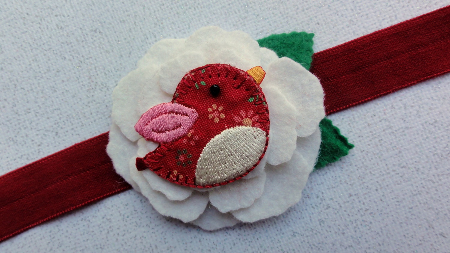 Red baby headband with wool felt rose and love bird applique