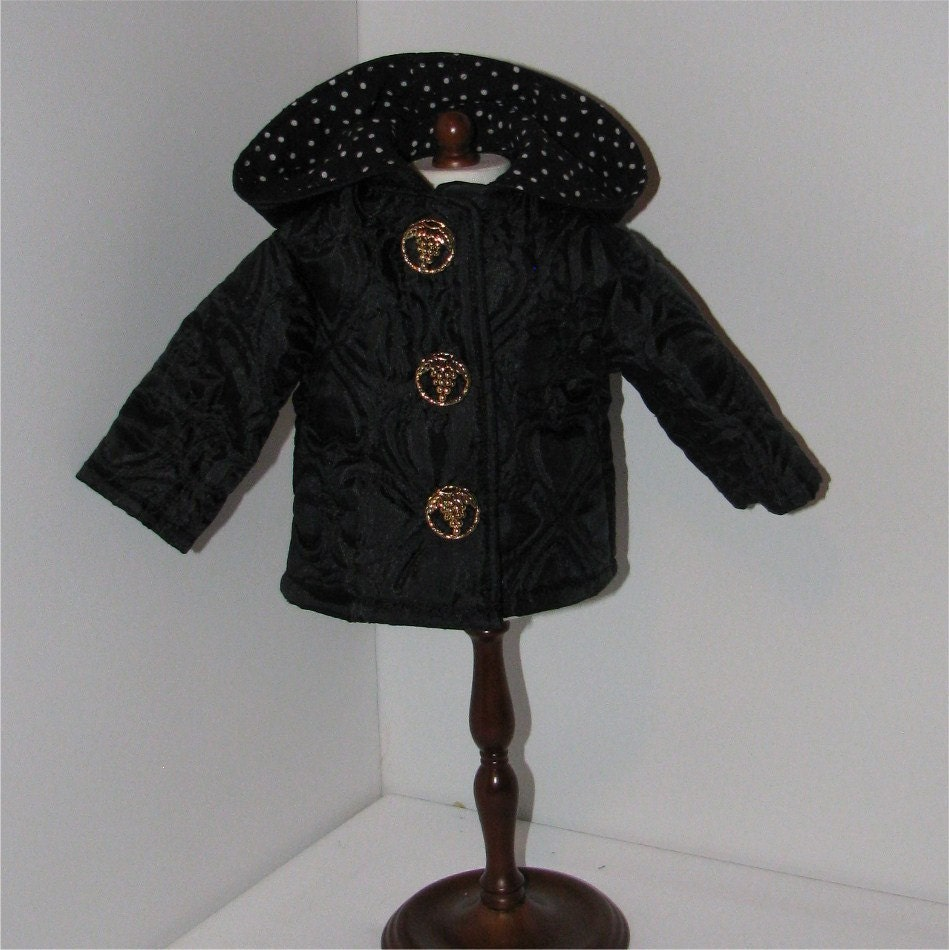 Black Quilted Jacket, Fits American Girl and 18 Inch Dolls