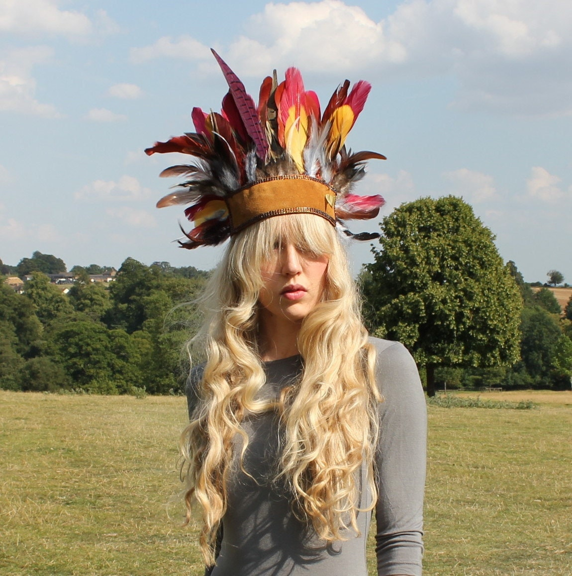 Leather and feather headdress