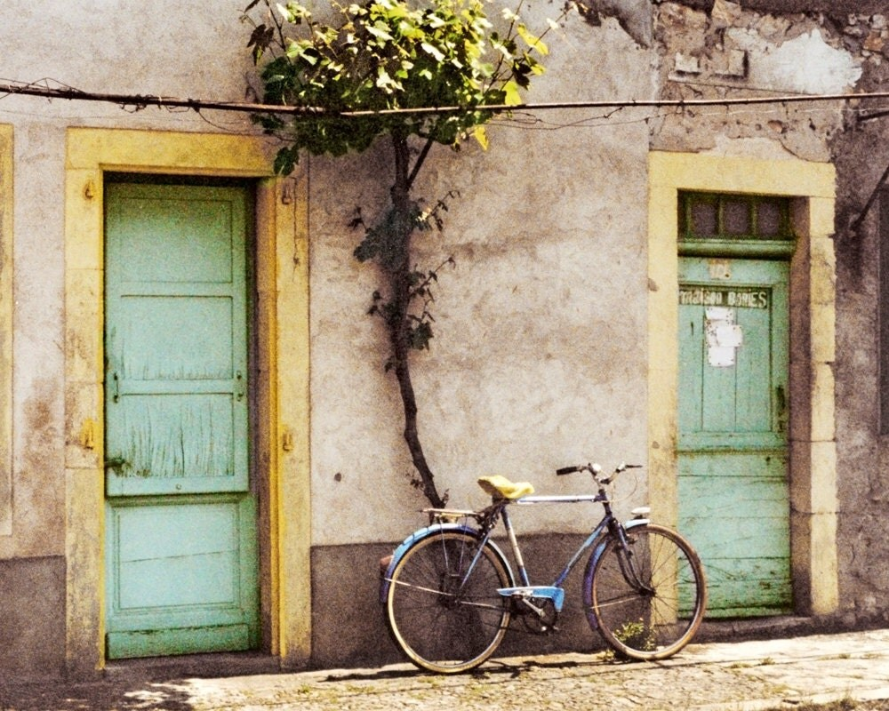 Vintage Bicycle, Old Bike, Photo, Photograph, France, Aqua Yellow Doors, Rustic  8x10