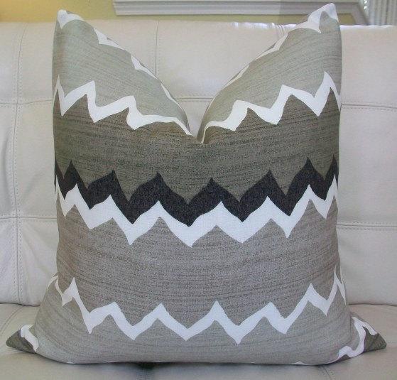 "Decorative Designer Pillow Cover - 20X20 - Vervain ""Mon Plaisir"" chevron linen print"