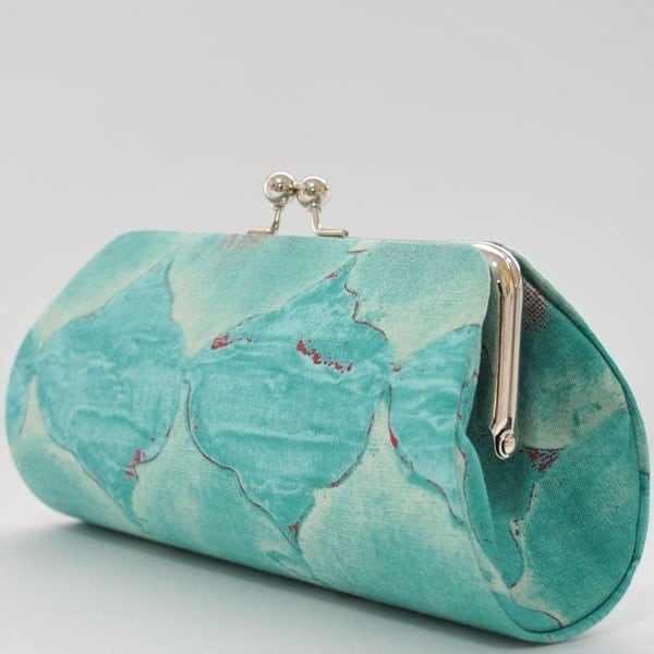 Tile Mosaic in Turquoise..Large Clutch Purse - PoppyPunch