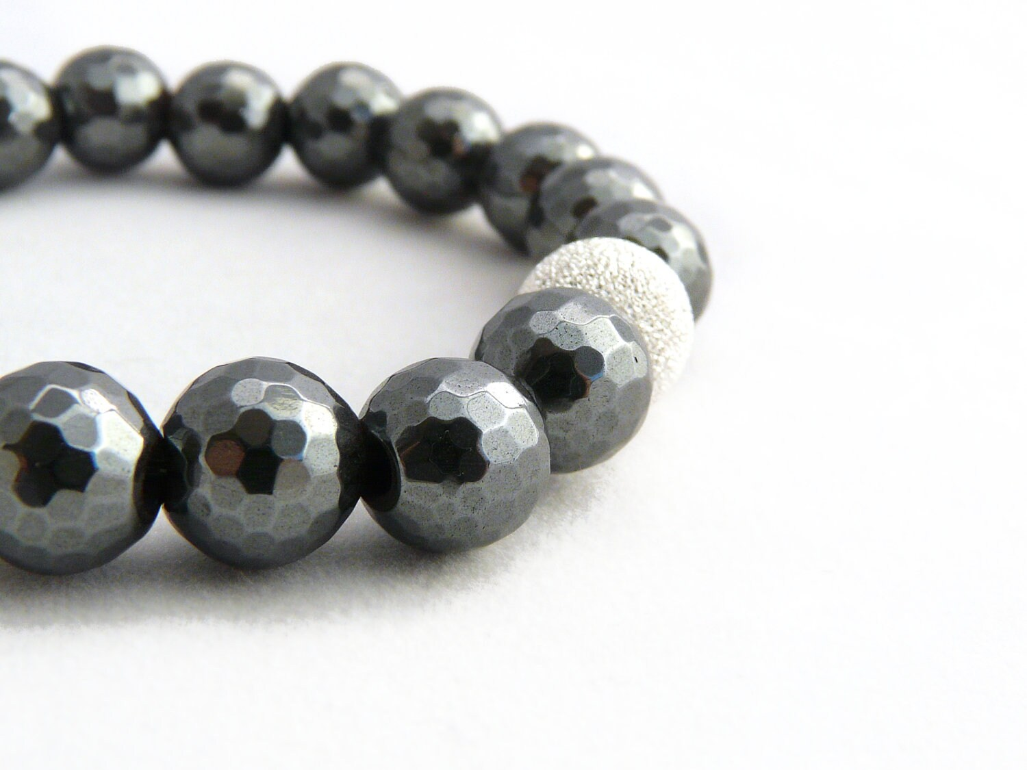 sparkly hematite bracelet with sterling silver stardust bead. steel gray. urban. metallic slate grey. simple. - stonesartisanjewelry