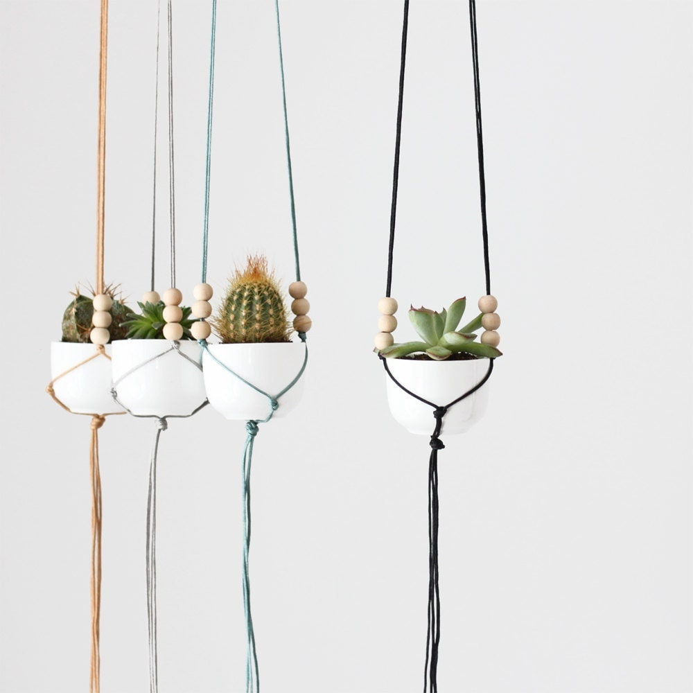 Mini Hanging Planter with Cup / Modern Macrame Planter / Plant Hanger - HRUSKAA
