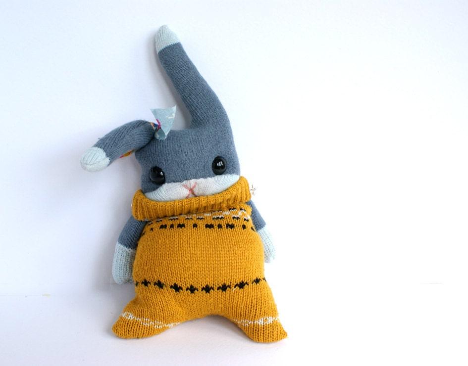 Little SockRabbit, mustard sweater