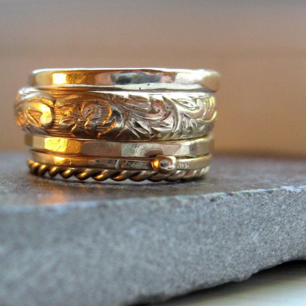 Five Gold Stacking Rings