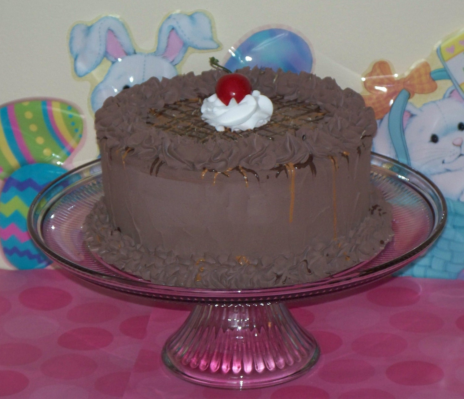 Fake Faux Chocolate Turtle Cake Chocolate Caramel Drizzle Pecan Slivers Cherry on Top House Staging, Home Decor Centerpiece Stage Photo Prop