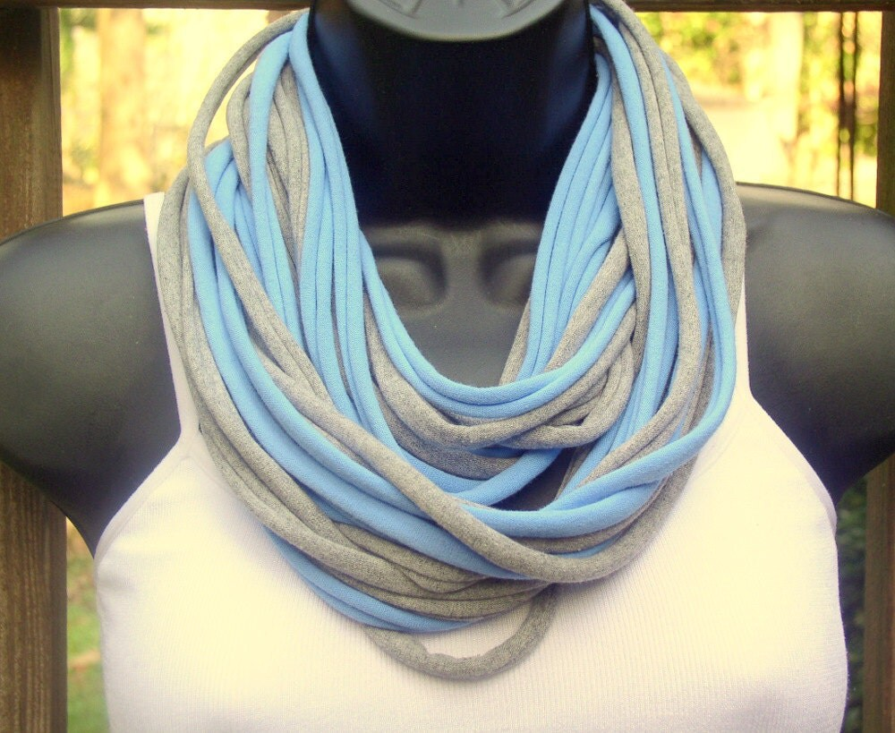 Tee Shirt Scarf - Necklace -Blue  and Gray - Infinity Loop