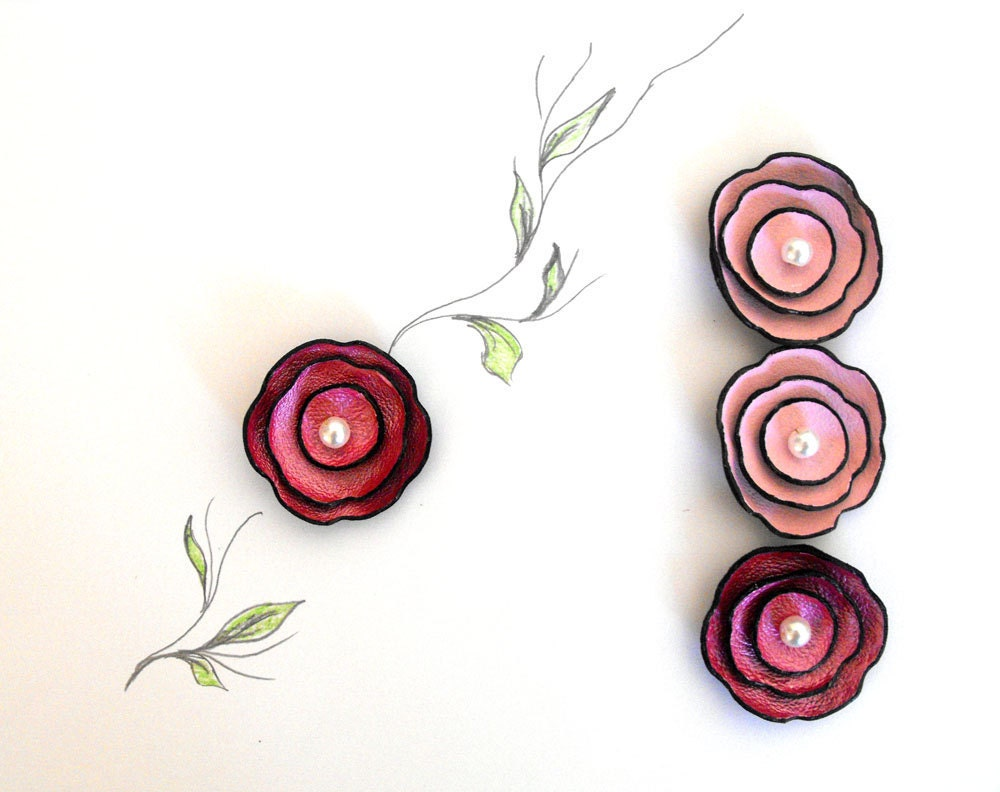 Pink leather cabochon flowers for brooches, pendants, shoe clips etc Set of 4 pcs